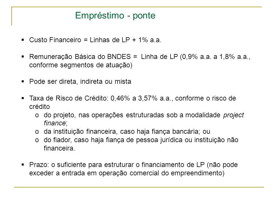 Empréstimo - ponte Custo Financeiro = Linhas de LP + 1% a.a. Remuneração Básica do BNDES = Linha de LP (0,9% a.a. a 1,8% a.a., conforme segmentos de a
