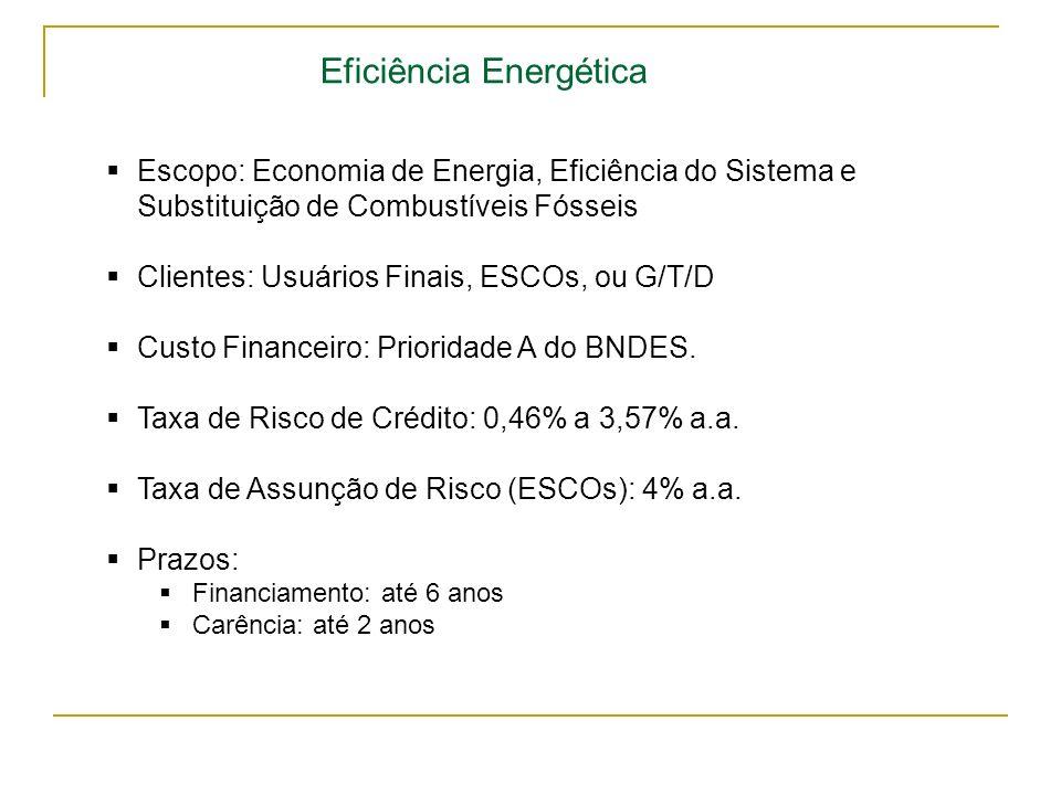 Eficiência Energética Escopo: Economia de Energia, Eficiência do Sistema e Substituição de Combustíveis Fósseis Clientes: Usuários Finais, ESCOs, ou G