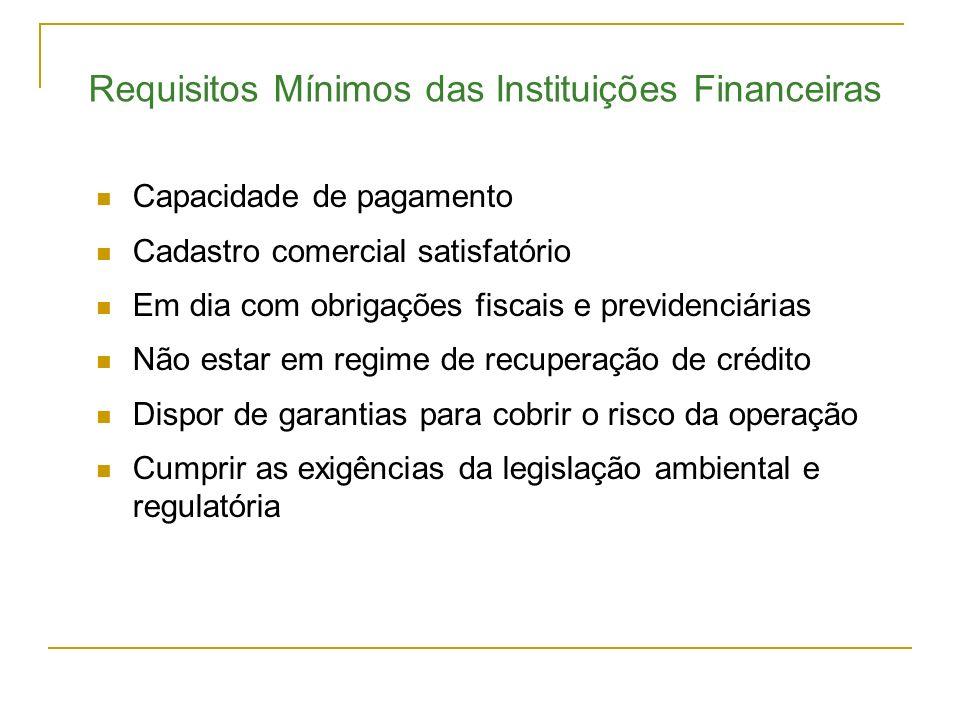 Requisitos Mínimos das Instituições Financeiras Capacidade de pagamento Cadastro comercial satisfatório Em dia com obrigações fiscais e previdenciária