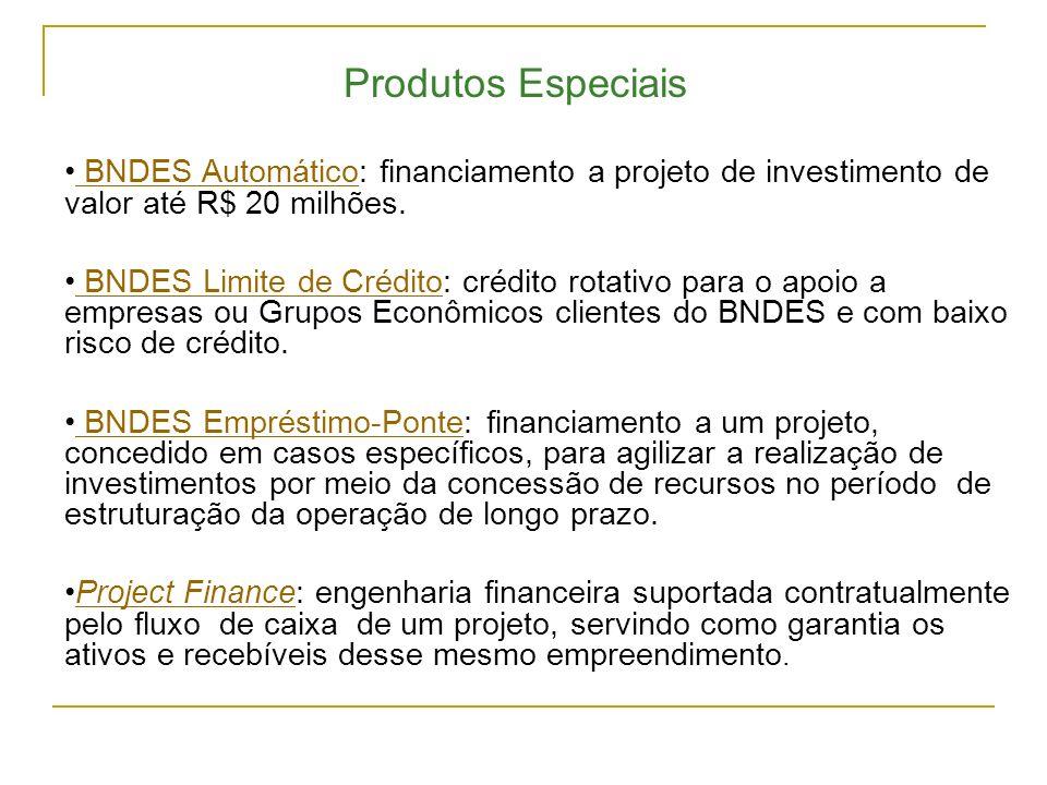 BNDES Automático: financiamento a projeto de investimento de valor até R$ 20 milhões. BNDES Automático BNDES Limite de Crédito: crédito rotativo para