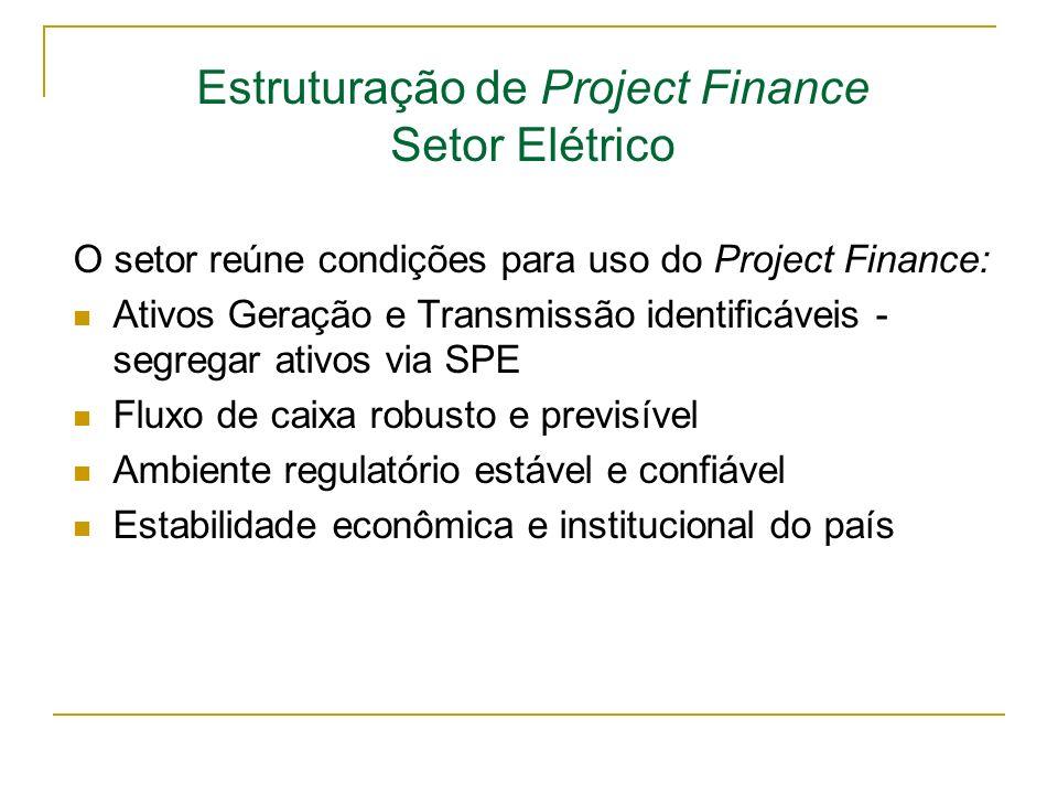 Estruturação de Project Finance Setor Elétrico O setor reúne condições para uso do Project Finance: Ativos Geração e Transmissão identificáveis - segr