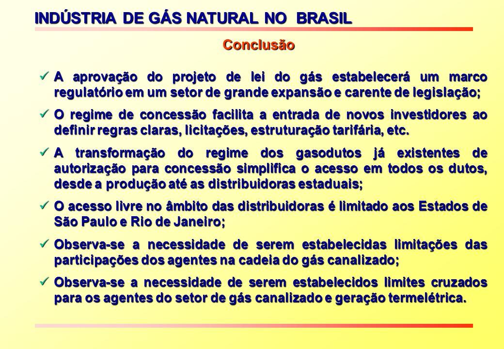 INDÚSTRIA DE GÁS NATURAL NO BRASIL A aprovação do projeto de lei do gás estabelecerá um marco regulatório em um setor de grande expansão e carente de legislação; A aprovação do projeto de lei do gás estabelecerá um marco regulatório em um setor de grande expansão e carente de legislação; O regime de concessão facilita a entrada de novos investidores ao definir regras claras, licitações, estruturação tarifária, etc.