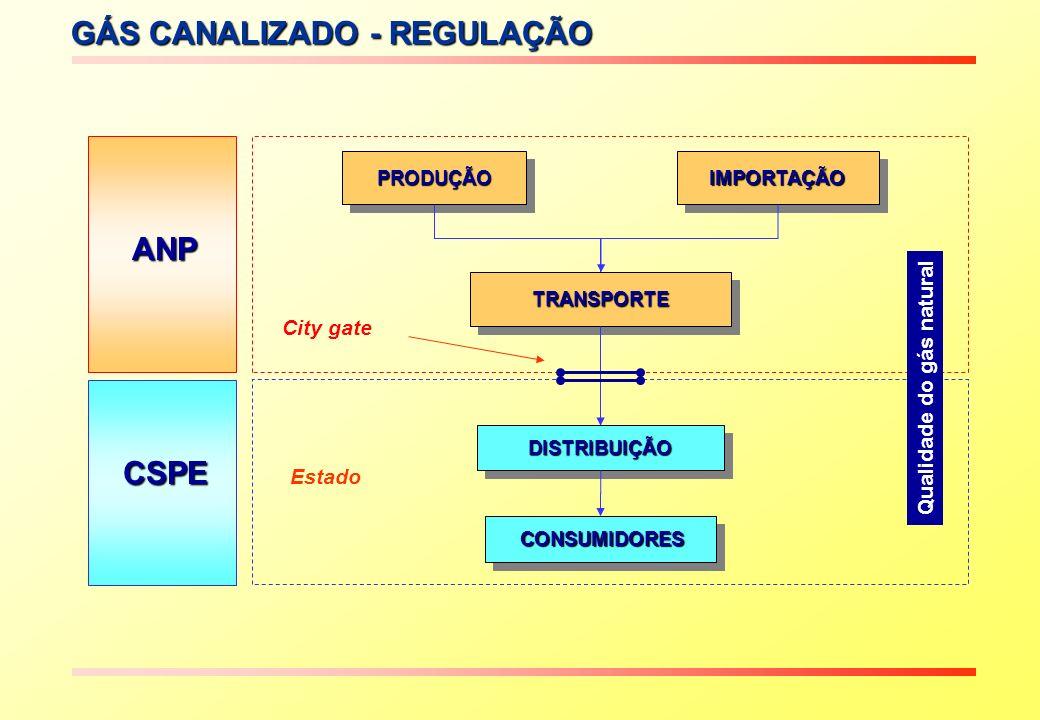 GÁS CANALIZADO - REGULAÇÃO CSPE ANP PRODUÇÃOPRODUÇÃOIMPORTAÇÃOIMPORTAÇÃO TRANSPORTETRANSPORTE CONSUMIDORES CONSUMIDORES DISTRIBUIÇÃODISTRIBUIÇÃO City gate Qualidade do gás natural Estado