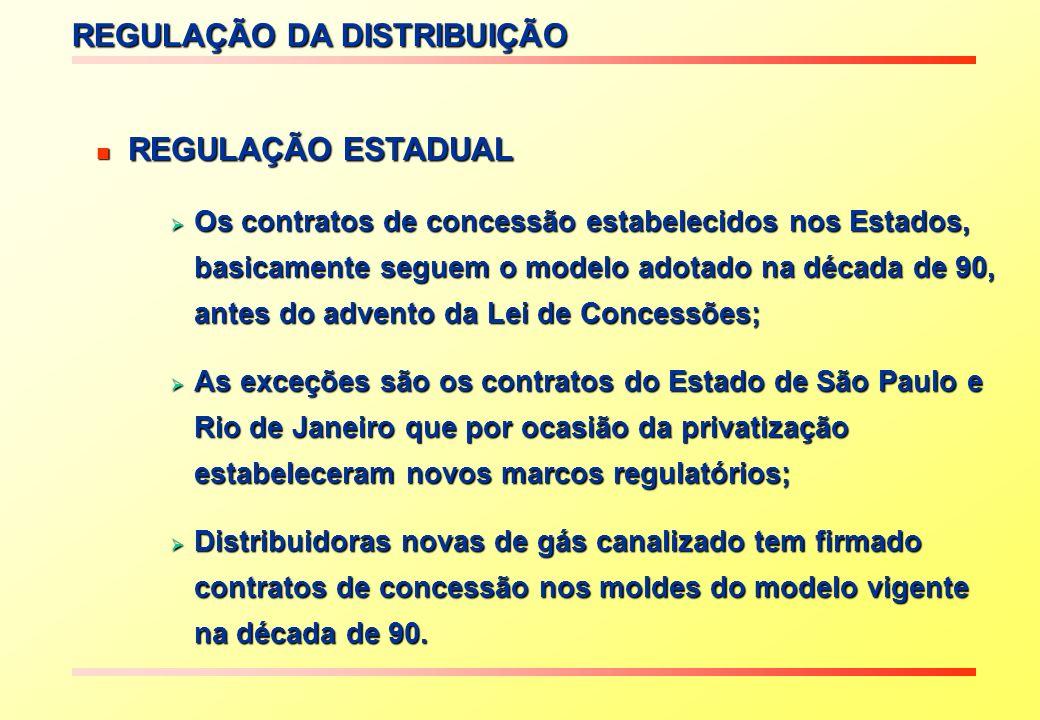 REGULAÇÃO DA DISTRIBUIÇÃO REGULAÇÃO ESTADUAL REGULAÇÃO ESTADUAL Os contratos de concessão estabelecidos nos Estados, basicamente seguem o modelo adotado na década de 90, antes do advento da Lei de Concessões; Os contratos de concessão estabelecidos nos Estados, basicamente seguem o modelo adotado na década de 90, antes do advento da Lei de Concessões; As exceções são os contratos do Estado de São Paulo e Rio de Janeiro que por ocasião da privatização estabeleceram novos marcos regulatórios; As exceções são os contratos do Estado de São Paulo e Rio de Janeiro que por ocasião da privatização estabeleceram novos marcos regulatórios; Distribuidoras novas de gás canalizado tem firmado contratos de concessão nos moldes do modelo vigente na década de 90.