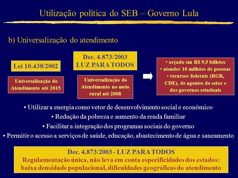 Utilização política do SEB – Governo Lula b) Universalização do atendimento Lei 10.438/2002 Universalização do Atendimento até 2015 Utilizar a energia