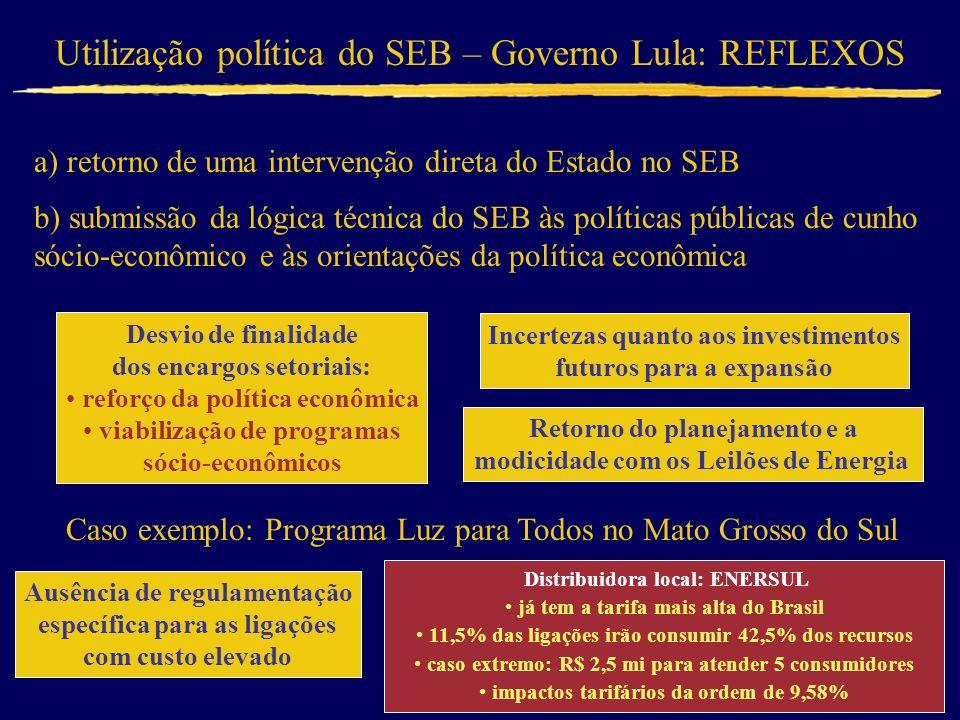 Utilização política do SEB – Governo Lula: REFLEXOS a) retorno de uma intervenção direta do Estado no SEB b) submissão da lógica técnica do SEB às pol