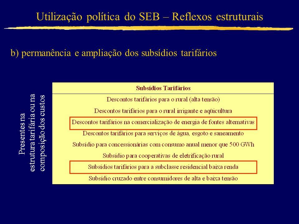 Utilização política do SEB – Reflexos estruturais b) permanência e ampliação dos subsídios tarifários Presentes na estrutura tarifária ou na composiçã
