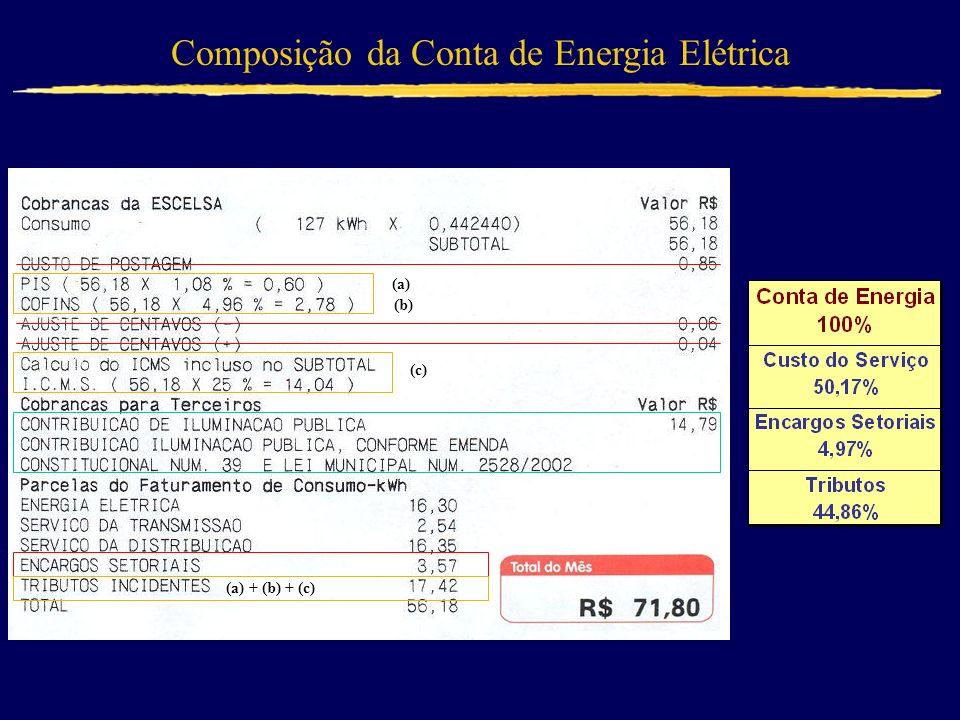 (a) (b) (c) (a) + (b) + (c) Composição da Conta de Energia Elétrica