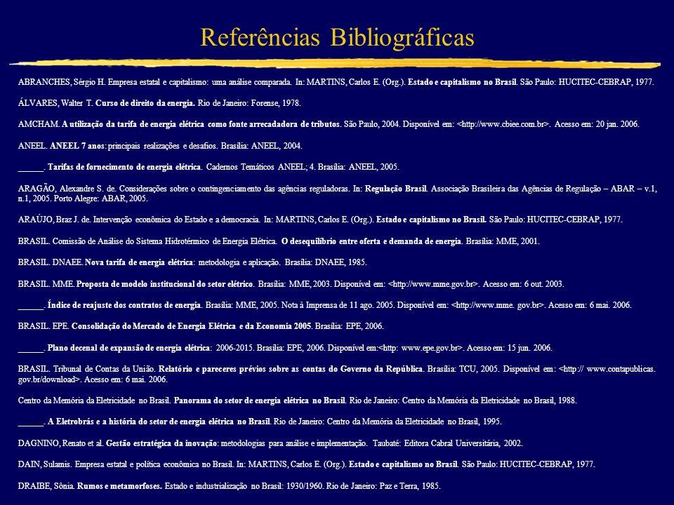Referências Bibliográficas ABRANCHES, Sérgio H. Empresa estatal e capitalismo: uma análise comparada. In: MARTINS, Carlos E. (Org.). Estado e capitali