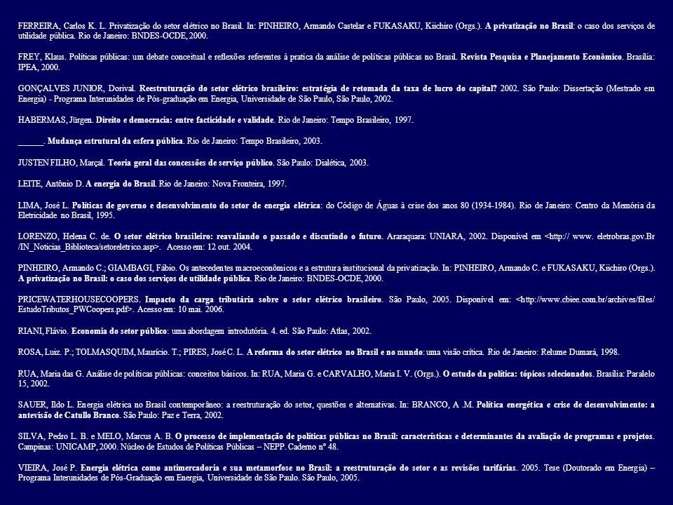 FERREIRA, Carlos K. L. Privatização do setor elétrico no Brasil. In: PINHEIRO, Armando Castelar e FUKASAKU, Kiichiro (Orgs.). A privatização no Brasil