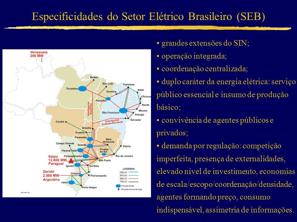 Especificidades do Setor Elétrico Brasileiro (SEB) grandes extensões do SIN; operação integrada; coordenação centralizada; duplo caráter da energia el
