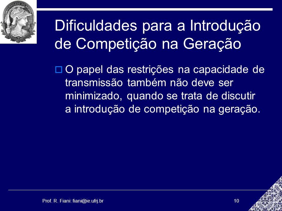 Prof. R. Fiani: fiani@ie.ufrj.br10 Dificuldades para a Introdução de Competição na Geração O papel das restrições na capacidade de transmissão também
