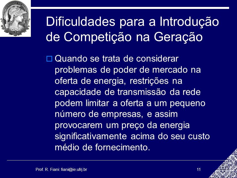 Prof. R. Fiani: fiani@ie.ufrj.br11 Dificuldades para a Introdução de Competição na Geração Quando se trata de considerar problemas de poder de mercado