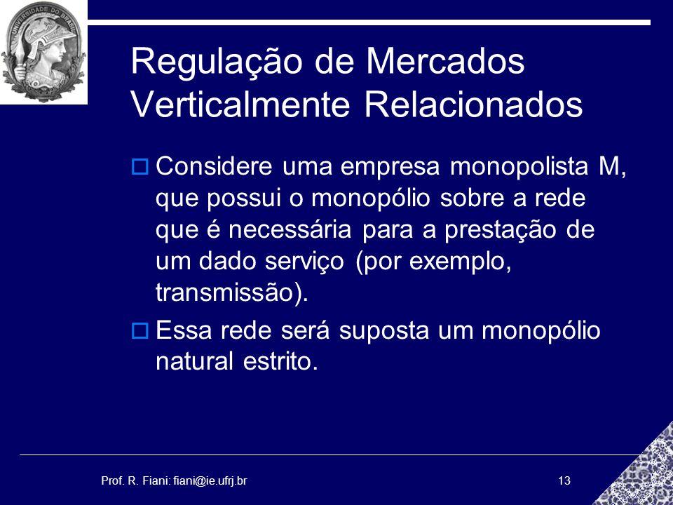 Prof. R. Fiani: fiani@ie.ufrj.br13 Regulação de Mercados Verticalmente Relacionados Considere uma empresa monopolista M, que possui o monopólio sobre