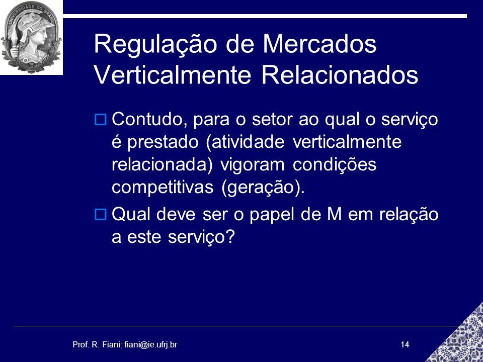 Prof. R. Fiani: fiani@ie.ufrj.br14 Regulação de Mercados Verticalmente Relacionados Contudo, para o setor ao qual o serviço é prestado (atividade vert