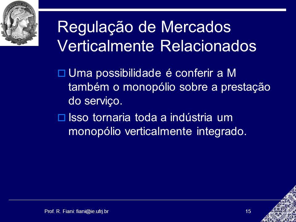 Prof. R. Fiani: fiani@ie.ufrj.br15 Regulação de Mercados Verticalmente Relacionados Uma possibilidade é conferir a M também o monopólio sobre a presta