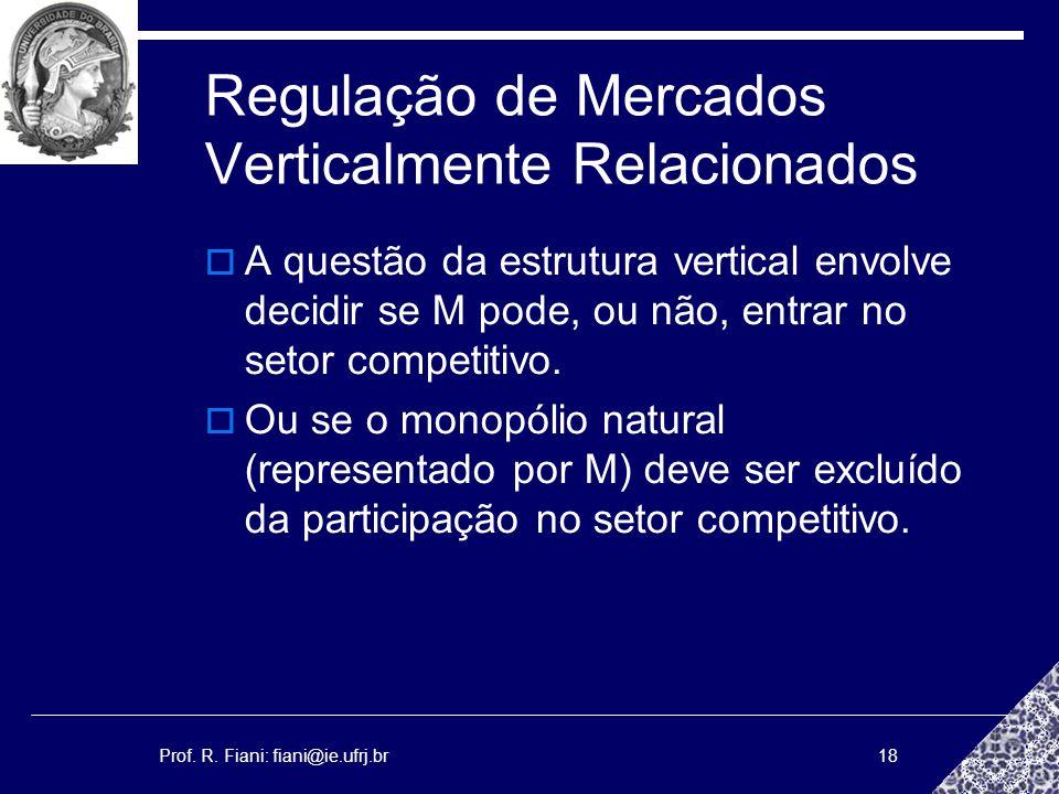 Prof. R. Fiani: fiani@ie.ufrj.br18 Regulação de Mercados Verticalmente Relacionados A questão da estrutura vertical envolve decidir se M pode, ou não,