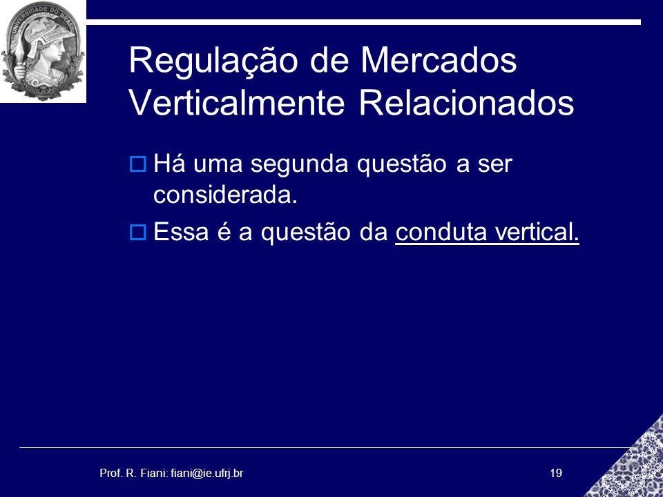 Prof. R. Fiani: fiani@ie.ufrj.br19 Regulação de Mercados Verticalmente Relacionados Há uma segunda questão a ser considerada. Essa é a questão da cond