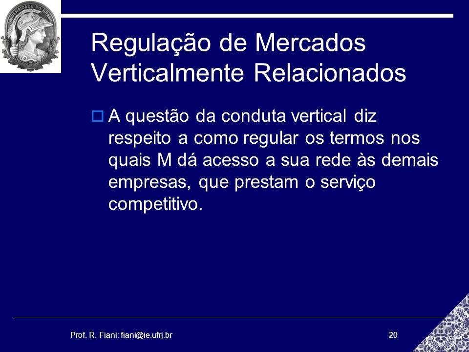 Prof. R. Fiani: fiani@ie.ufrj.br20 Regulação de Mercados Verticalmente Relacionados A questão da conduta vertical diz respeito a como regular os termo