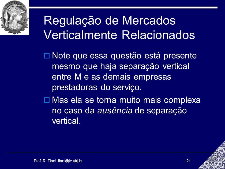 Prof. R. Fiani: fiani@ie.ufrj.br21 Regulação de Mercados Verticalmente Relacionados Note que essa questão está presente mesmo que haja separação verti