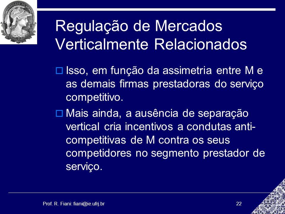Prof. R. Fiani: fiani@ie.ufrj.br22 Regulação de Mercados Verticalmente Relacionados Isso, em função da assimetria entre M e as demais firmas prestador