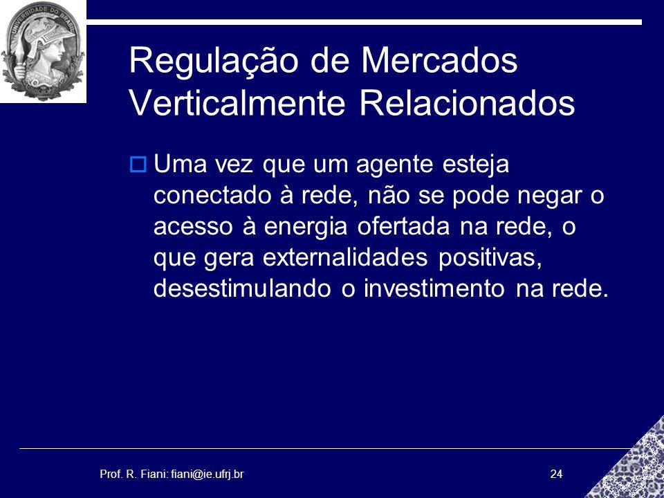 Prof. R. Fiani: fiani@ie.ufrj.br24 Regulação de Mercados Verticalmente Relacionados Uma vez que um agente esteja conectado à rede, não se pode negar o