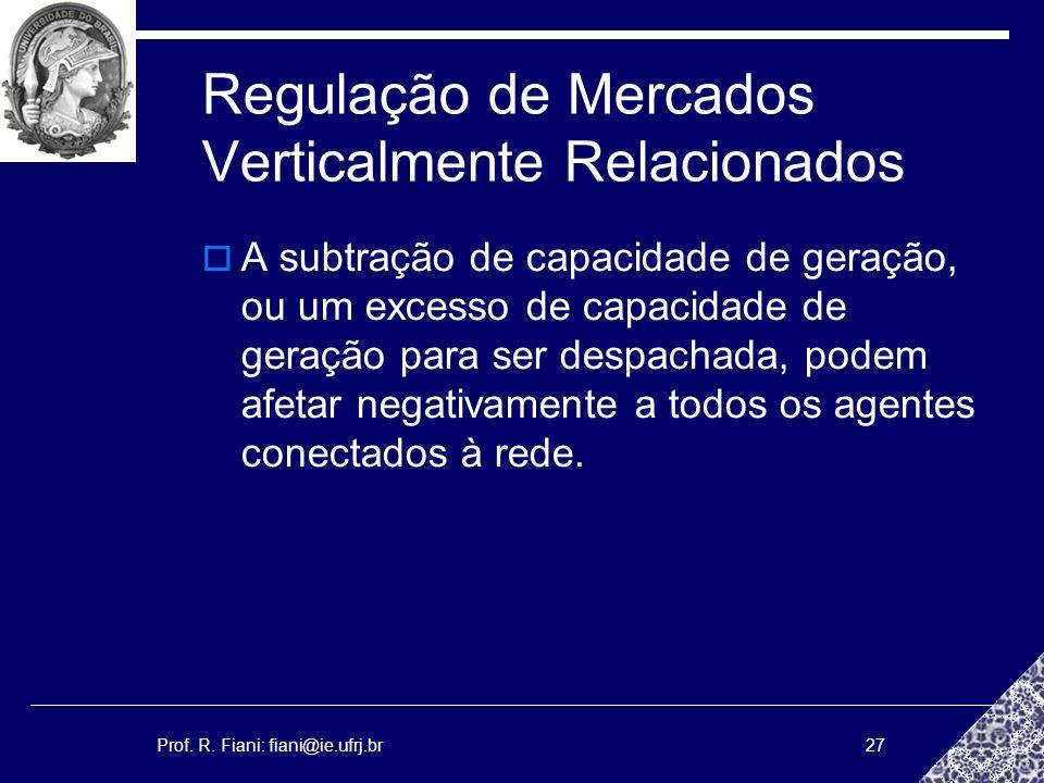 Prof. R. Fiani: fiani@ie.ufrj.br27 Regulação de Mercados Verticalmente Relacionados A subtração de capacidade de geração, ou um excesso de capacidade