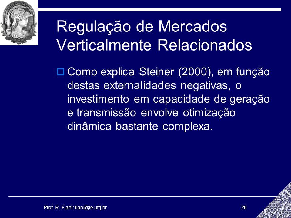 Prof. R. Fiani: fiani@ie.ufrj.br28 Regulação de Mercados Verticalmente Relacionados Como explica Steiner (2000), em função destas externalidades negat