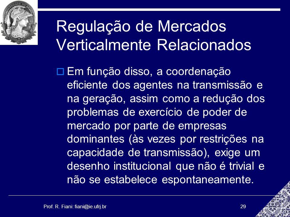 Prof. R. Fiani: fiani@ie.ufrj.br29 Regulação de Mercados Verticalmente Relacionados Em função disso, a coordenação eficiente dos agentes na transmissã