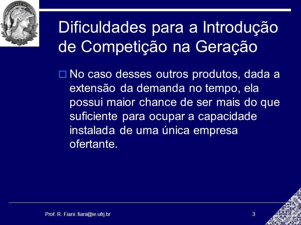 Prof. R. Fiani: fiani@ie.ufrj.br3 Dificuldades para a Introdução de Competição na Geração No caso desses outros produtos, dada a extensão da demanda n
