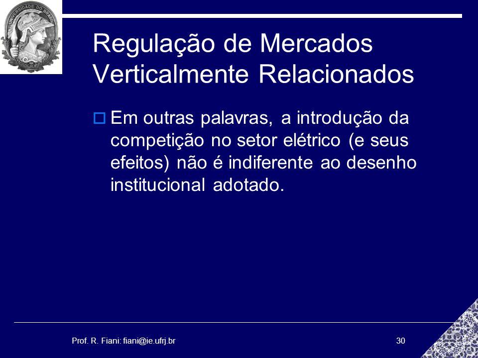 Prof. R. Fiani: fiani@ie.ufrj.br30 Regulação de Mercados Verticalmente Relacionados Em outras palavras, a introdução da competição no setor elétrico (