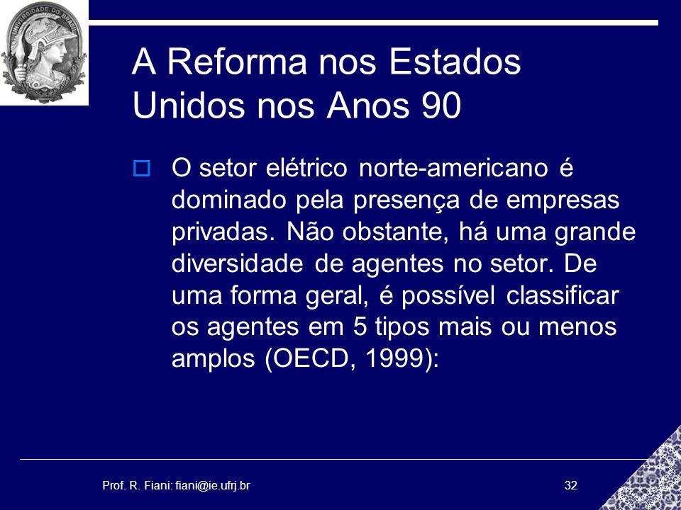 Prof. R. Fiani: fiani@ie.ufrj.br32 A Reforma nos Estados Unidos nos Anos 90 O setor elétrico norte-americano é dominado pela presença de empresas priv