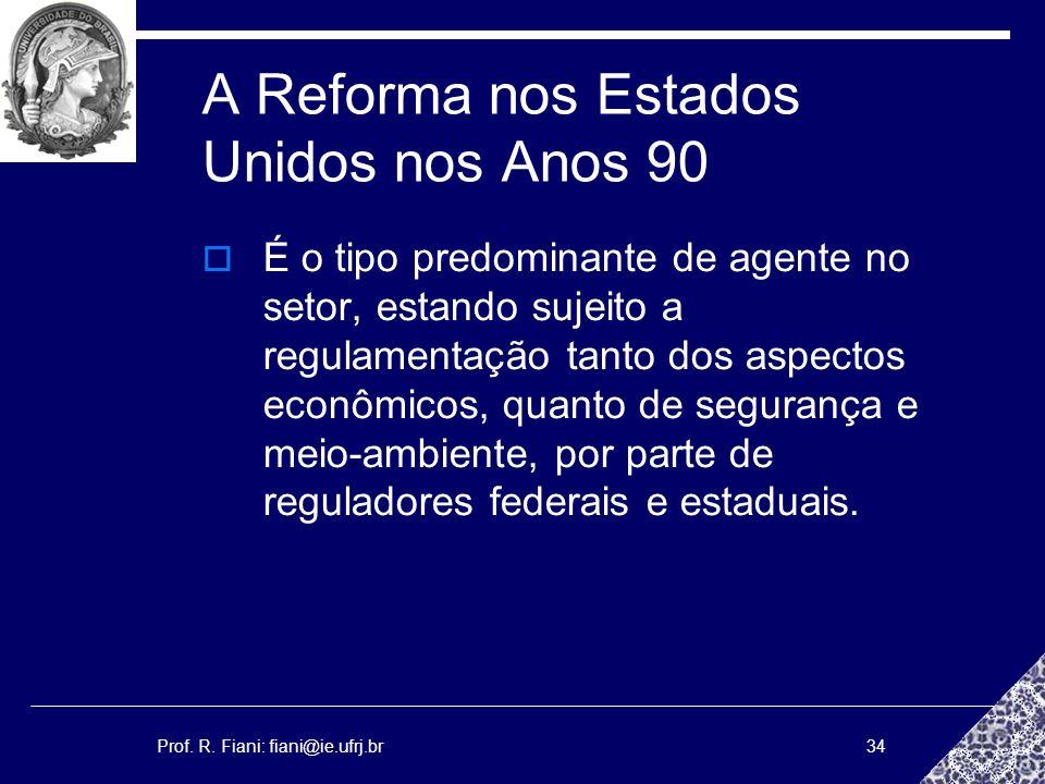 Prof. R. Fiani: fiani@ie.ufrj.br34 A Reforma nos Estados Unidos nos Anos 90 É o tipo predominante de agente no setor, estando sujeito a regulamentação