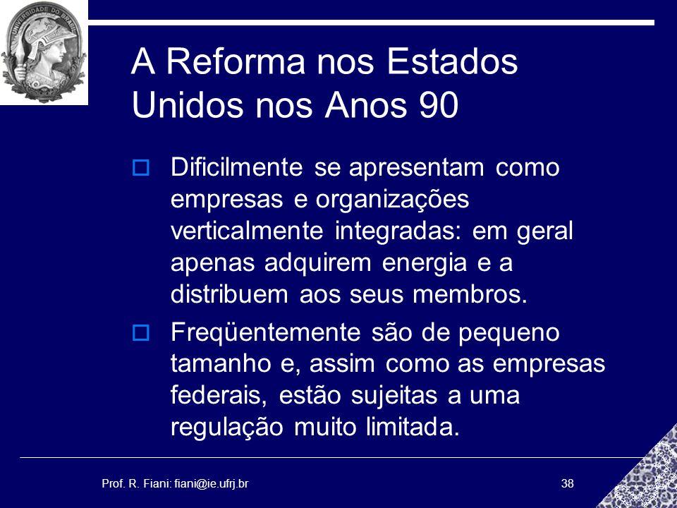 Prof. R. Fiani: fiani@ie.ufrj.br38 A Reforma nos Estados Unidos nos Anos 90 Dificilmente se apresentam como empresas e organizações verticalmente inte