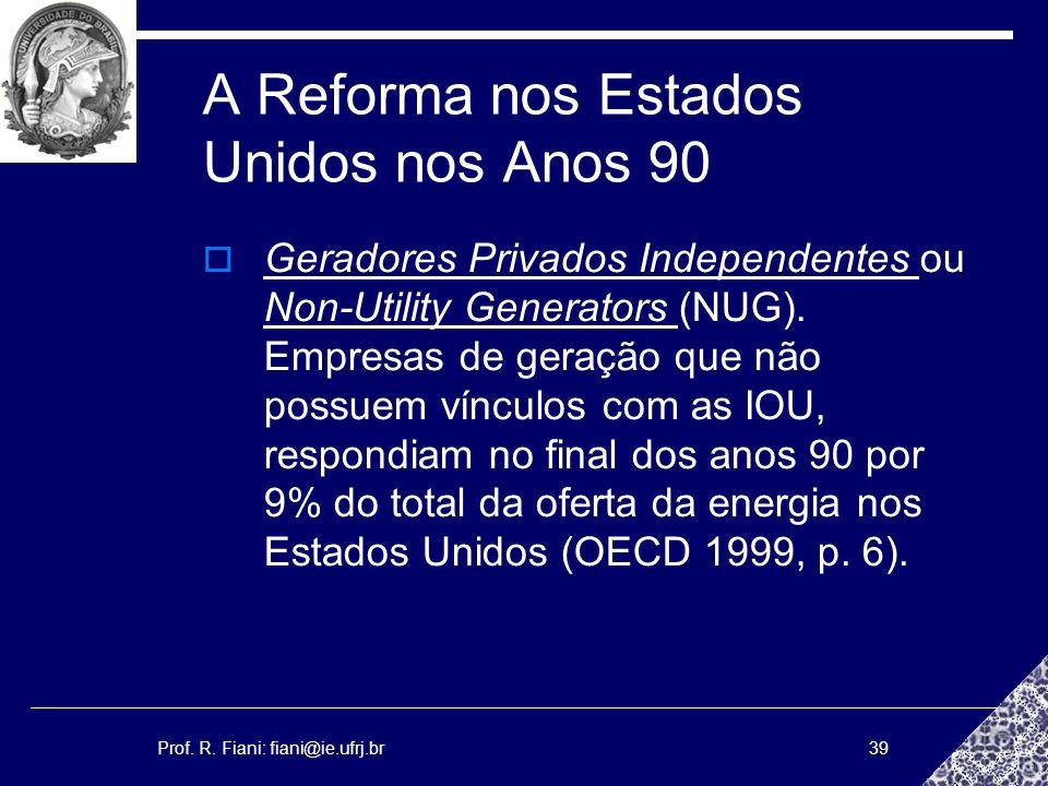 Prof. R. Fiani: fiani@ie.ufrj.br39 A Reforma nos Estados Unidos nos Anos 90 Geradores Privados Independentes ou Non-Utility Generators (NUG). Empresas