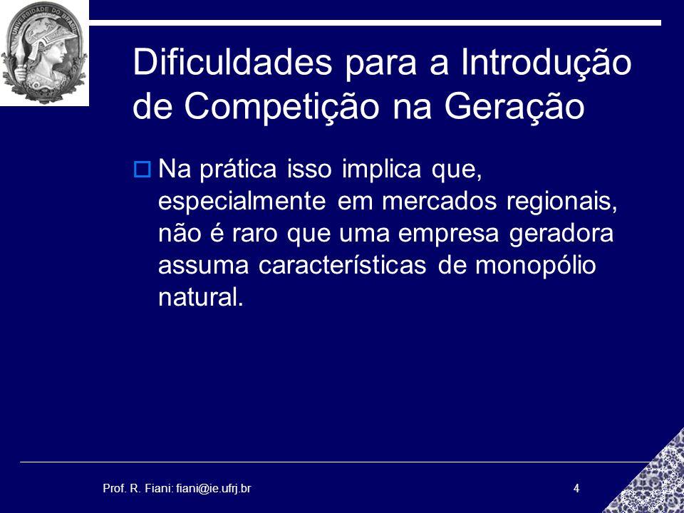 Prof. R. Fiani: fiani@ie.ufrj.br4 Dificuldades para a Introdução de Competição na Geração Na prática isso implica que, especialmente em mercados regio