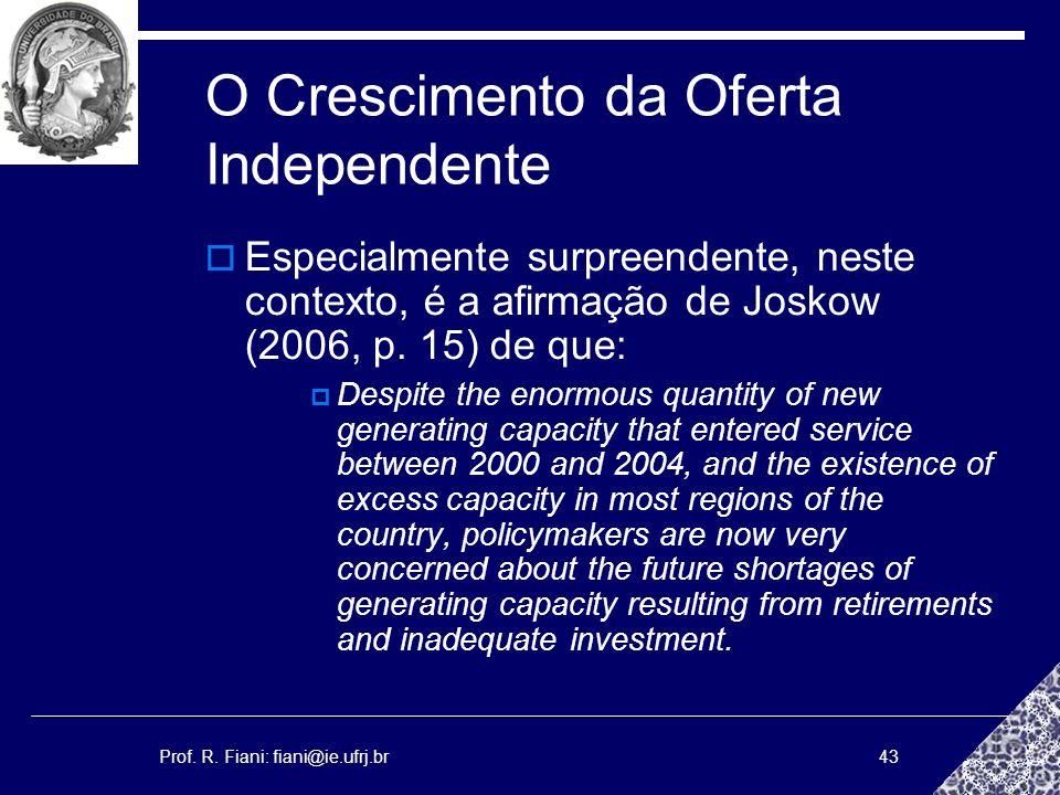 Prof. R. Fiani: fiani@ie.ufrj.br43 O Crescimento da Oferta Independente Especialmente surpreendente, neste contexto, é a afirmação de Joskow (2006, p.