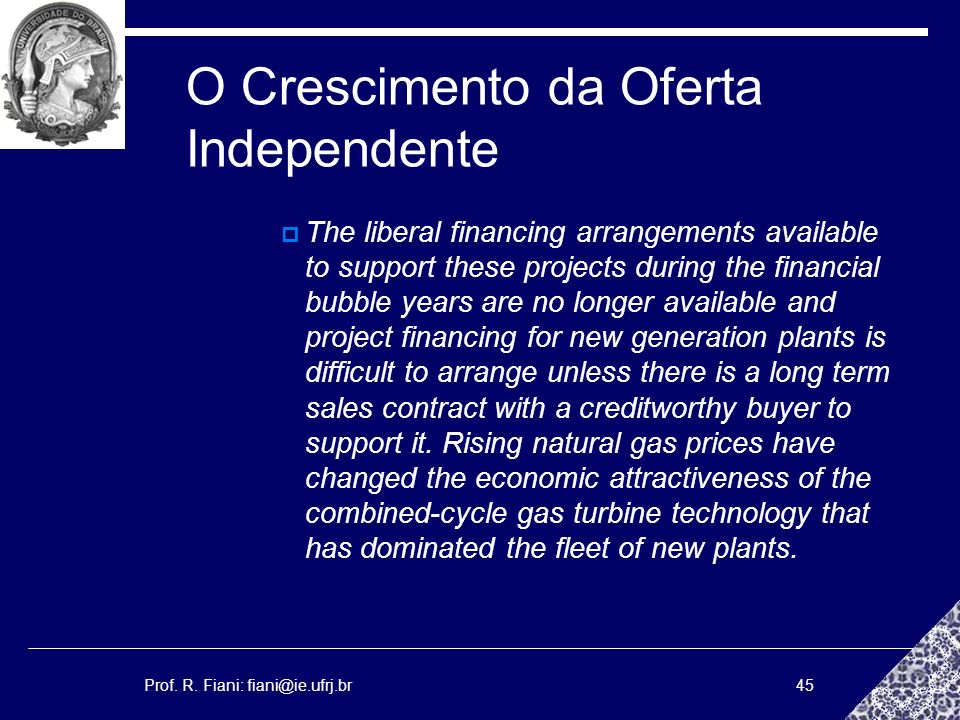 Prof. R. Fiani: fiani@ie.ufrj.br45 O Crescimento da Oferta Independente The liberal financing arrangements available to support these projects during