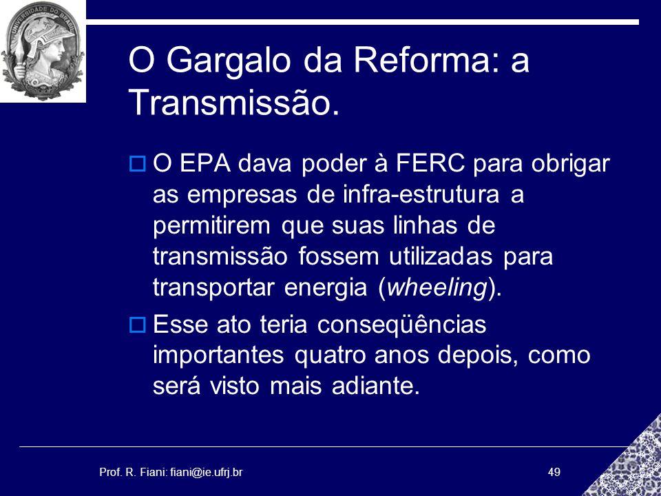 Prof. R. Fiani: fiani@ie.ufrj.br49 O Gargalo da Reforma: a Transmissão. O EPA dava poder à FERC para obrigar as empresas de infra-estrutura a permitir