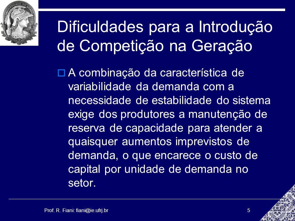 Prof. R. Fiani: fiani@ie.ufrj.br5 Dificuldades para a Introdução de Competição na Geração A combinação da característica de variabilidade da demanda c