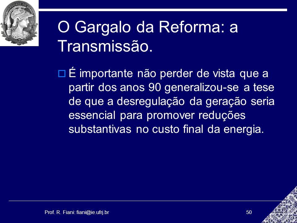 Prof. R. Fiani: fiani@ie.ufrj.br50 O Gargalo da Reforma: a Transmissão. É importante não perder de vista que a partir dos anos 90 generalizou-se a tes