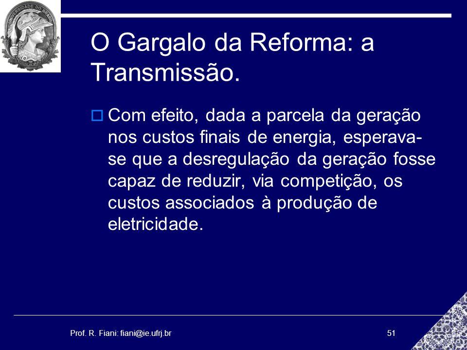 Prof. R. Fiani: fiani@ie.ufrj.br51 O Gargalo da Reforma: a Transmissão. Com efeito, dada a parcela da geração nos custos finais de energia, esperava-
