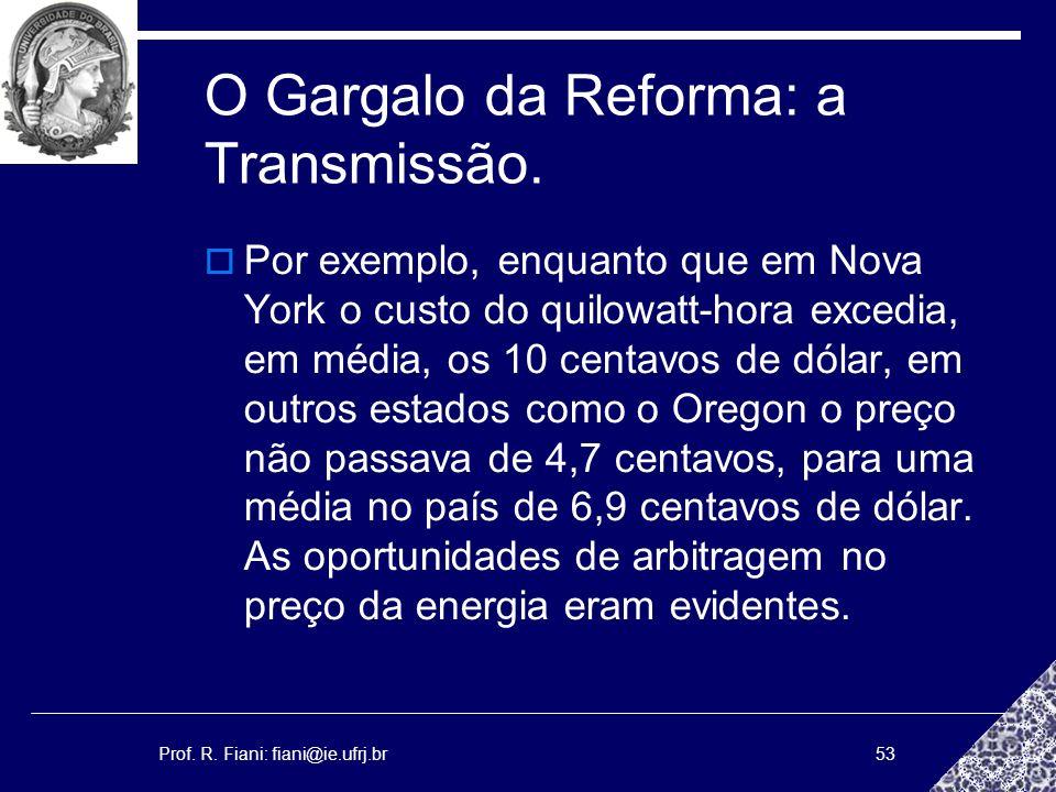 Prof. R. Fiani: fiani@ie.ufrj.br53 O Gargalo da Reforma: a Transmissão. Por exemplo, enquanto que em Nova York o custo do quilowatt-hora excedia, em m