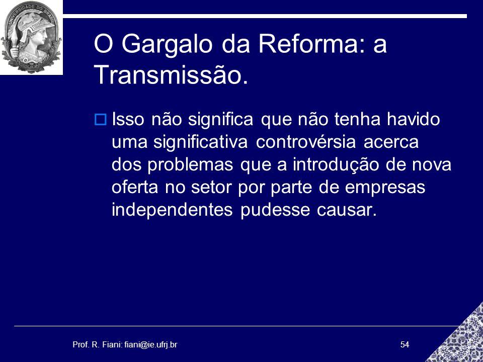 Prof. R. Fiani: fiani@ie.ufrj.br54 O Gargalo da Reforma: a Transmissão. Isso não significa que não tenha havido uma significativa controvérsia acerca