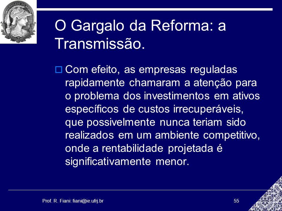Prof. R. Fiani: fiani@ie.ufrj.br55 O Gargalo da Reforma: a Transmissão. Com efeito, as empresas reguladas rapidamente chamaram a atenção para o proble