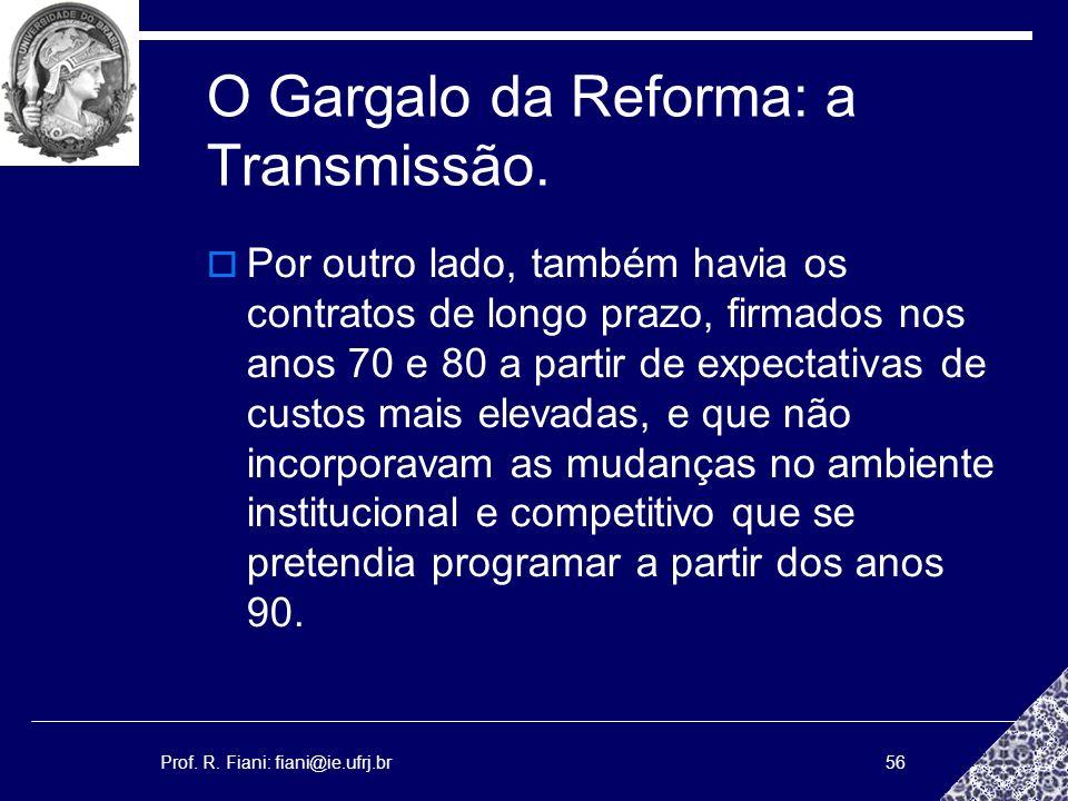 Prof. R. Fiani: fiani@ie.ufrj.br56 O Gargalo da Reforma: a Transmissão. Por outro lado, também havia os contratos de longo prazo, firmados nos anos 70