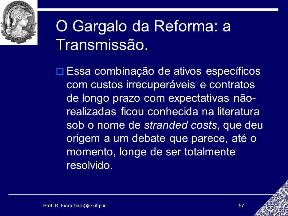 Prof. R. Fiani: fiani@ie.ufrj.br57 O Gargalo da Reforma: a Transmissão. Essa combinação de ativos específicos com custos irrecuperáveis e contratos de