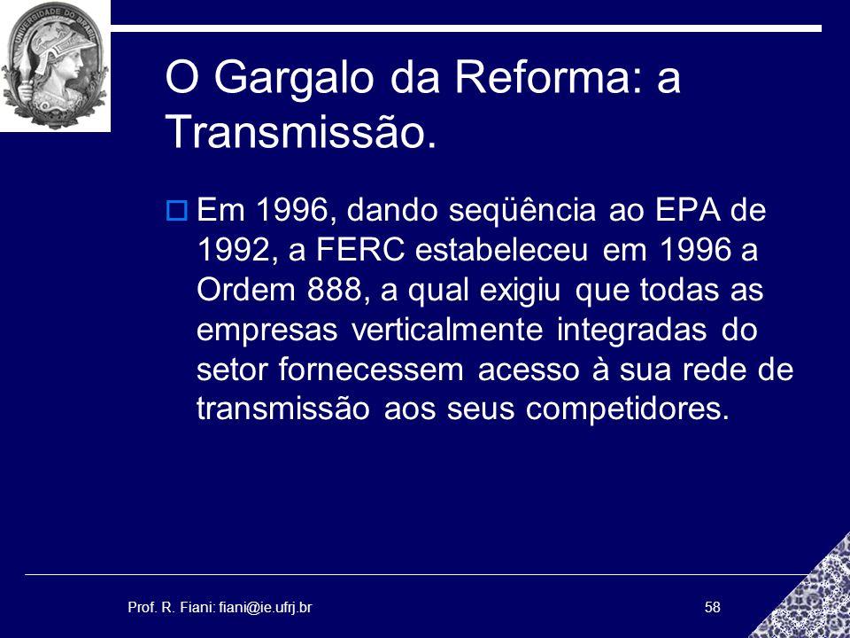 Prof. R. Fiani: fiani@ie.ufrj.br58 O Gargalo da Reforma: a Transmissão. Em 1996, dando seqüência ao EPA de 1992, a FERC estabeleceu em 1996 a Ordem 88