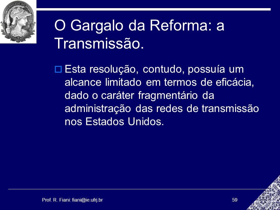 Prof. R. Fiani: fiani@ie.ufrj.br59 O Gargalo da Reforma: a Transmissão. Esta resolução, contudo, possuía um alcance limitado em termos de eficácia, da