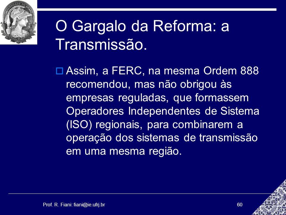 Prof. R. Fiani: fiani@ie.ufrj.br60 O Gargalo da Reforma: a Transmissão. Assim, a FERC, na mesma Ordem 888 recomendou, mas não obrigou às empresas regu